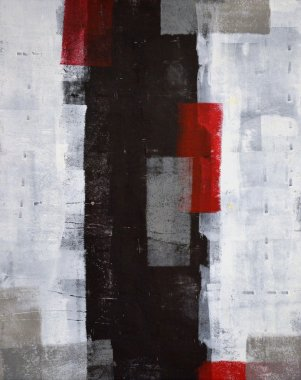 Grey and Red Abstract Art Painting