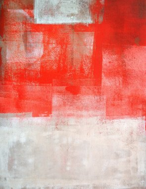 Beige and Coral Abstract Art Painting
