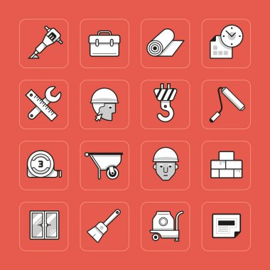 Collection of construction related icons in outline style clip art vector