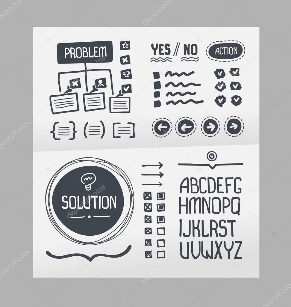 Plan de acción - plantilla de elementos dibujados a mano — Vector de ...
