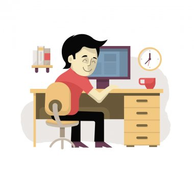 Freelancer at workplace working at the desktop computer from home. Illustration in modern flat design style clip art vector
