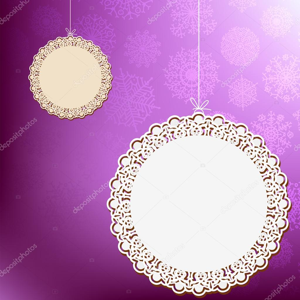 Purple lace ornament card. + EPS8