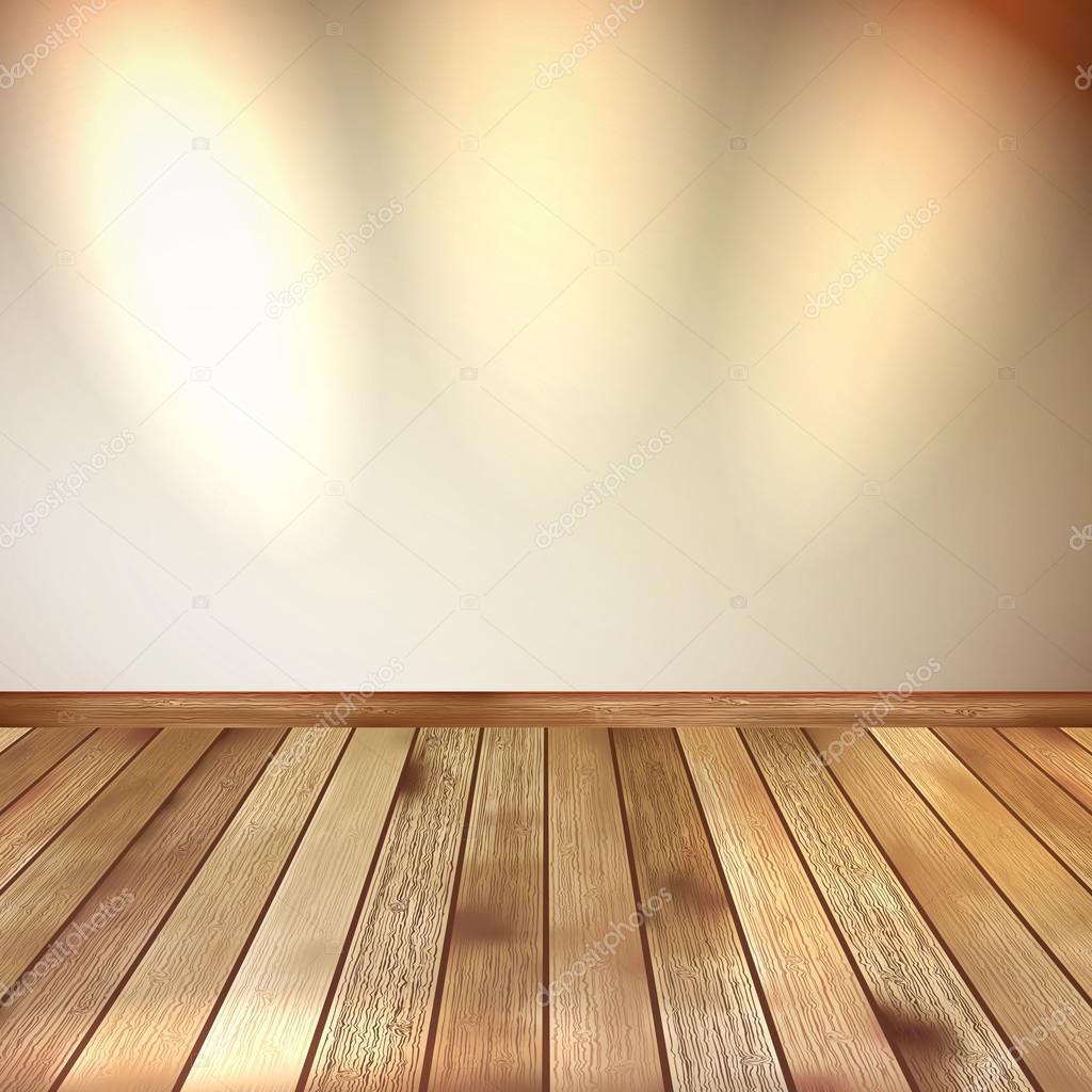 스포트 라이트 나무 바닥과 베이지색 벽입니다. Eps 10 — 스톡 ...
