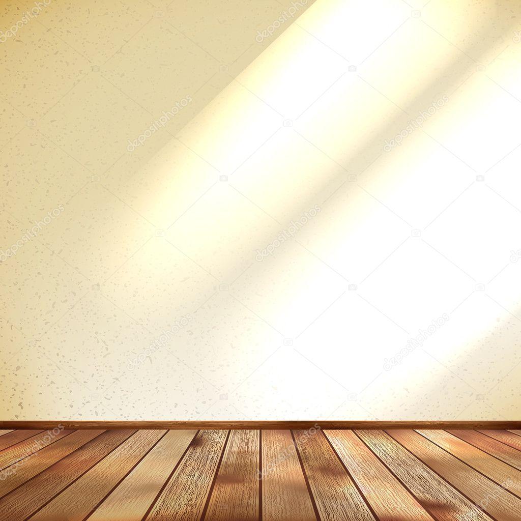 빈 베이지색 벽과 나무 바닥 룸 Eps 10 — 스톡 벡터 © dragomir2502 ...