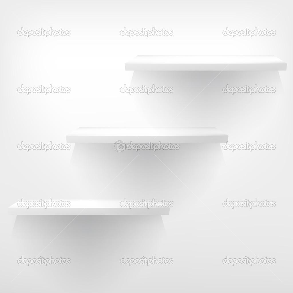 Puste Białe Półki Wiszące Na ścianie Grafika Wektorowa