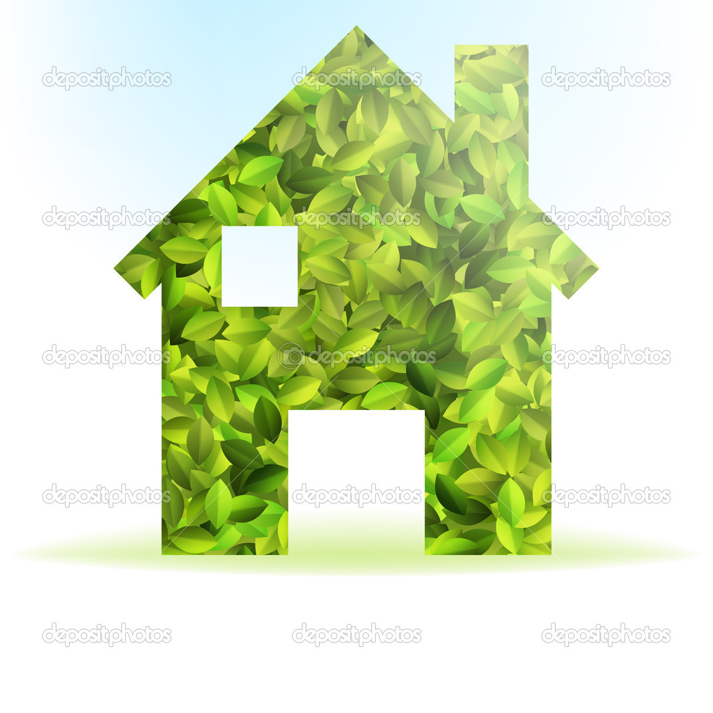 Eco house icon with green leaves. + EPS10