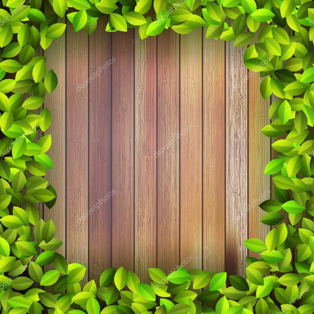 Fresh spring leaf plant over wood. + EPS10