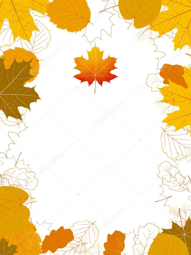 Isolated Autumn Leaves card with maple. plus EPS10