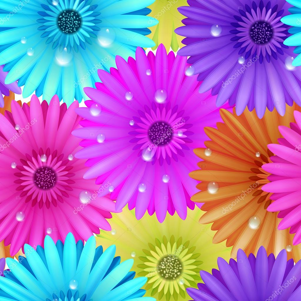 Seamless flower gerbera patter.