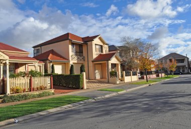 Little street with houses. Australia