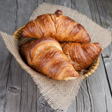 Fresh croissants on a table