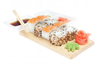 Set of japanese sushi over white