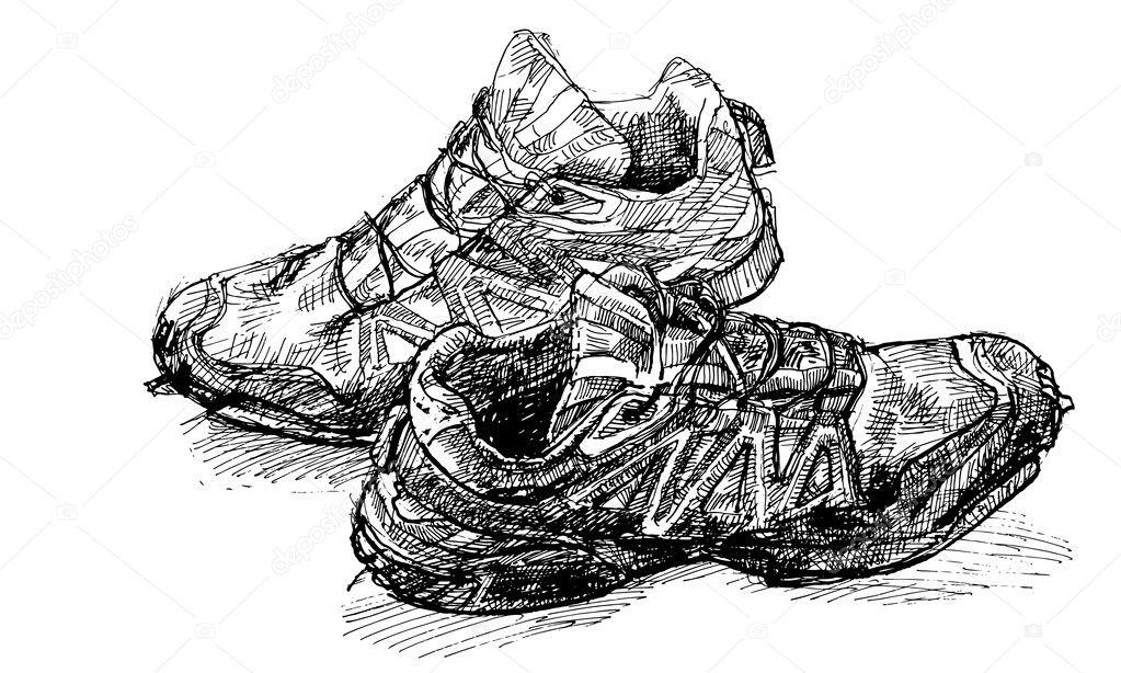 Par De Zapatillas Para Correr Archivo Imagenes Vectoriales