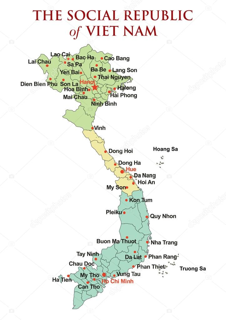 Northern Vietnam Map.Vietnam Map With Detail Of Islands Provinces Name And Border With 3