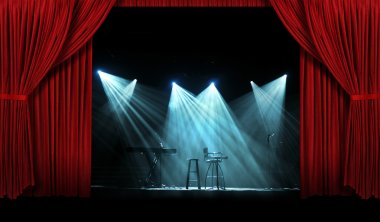 Concert with Stage with Red Curtains