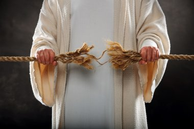 Jesus Hands Holding Frayed Rope