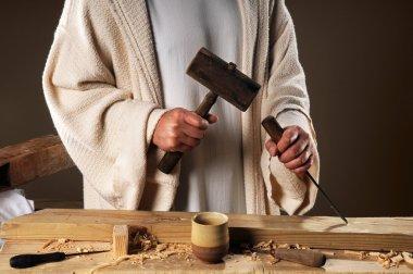 Jesus Hands With Carpenter's Tools