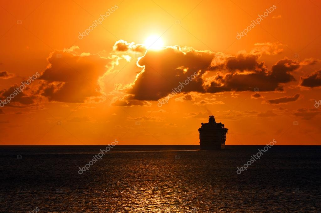 Cruise Ship Sailing Into Sunset