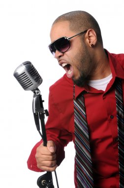 Man Singing Into Vintage Microphone