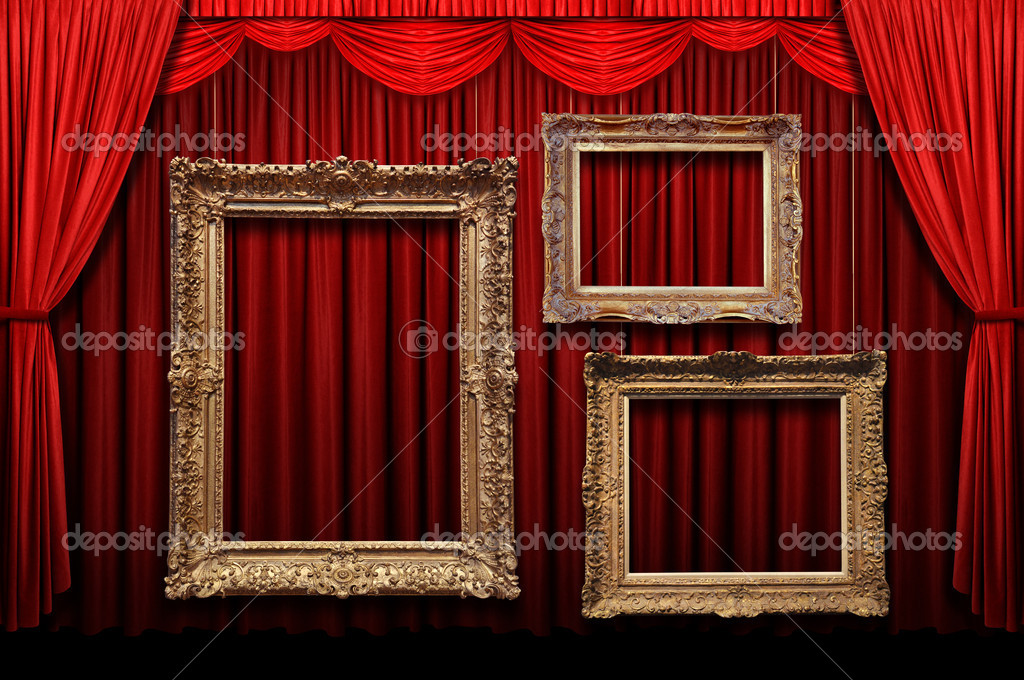 Red Stage Curtain With Gold Frames — Stock Photo © ginosphotos1 ...