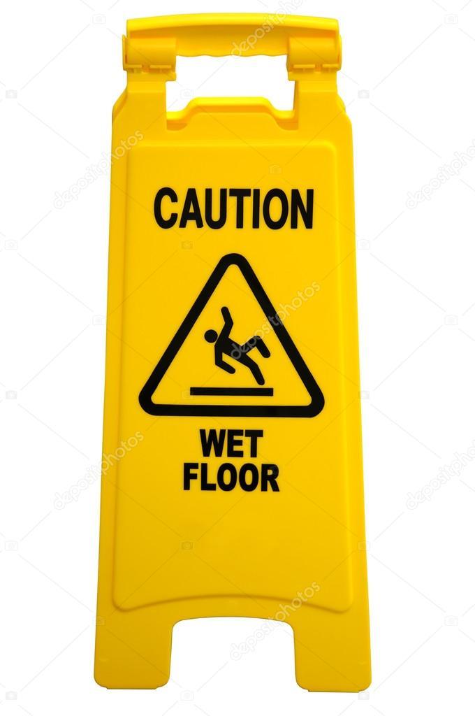 cartello pavimento bagnato di attenzione — Foto Stock © ginosphotos1 ...