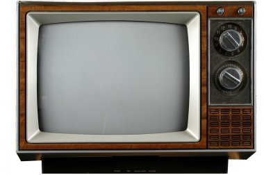 Old grungy Vintage TV with clipping path over a white background stock vector
