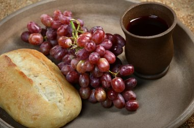 Tray with Bread, Grapes and Cup of Wine
