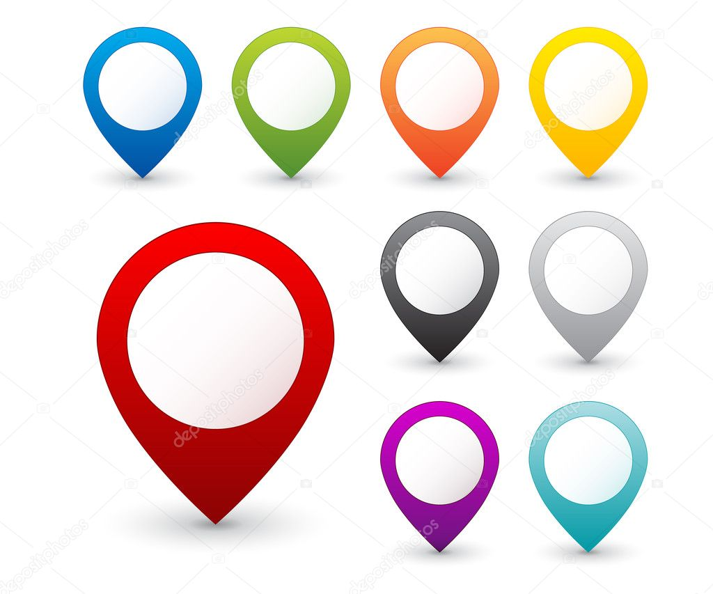 Free Google Maps Pointer Icon: Set Of Round 3D Map Pointers