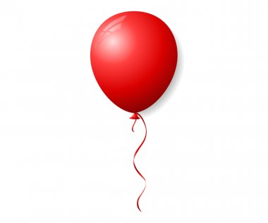 Vector red balloon with ribbon isolated on white background stock vector