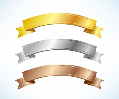 Gold, silver and bronze ribbons set