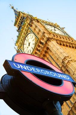 Big Ben with London Underground sign