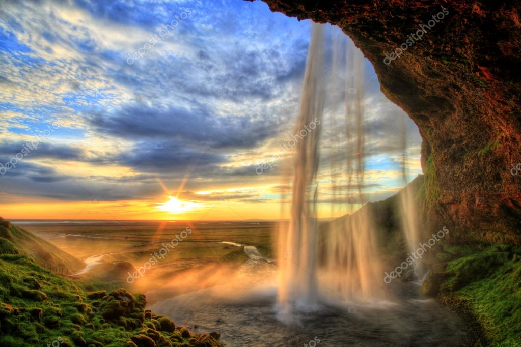 Фотообои Seljalandfoss waterfall at sunset in HDR, Iceland
