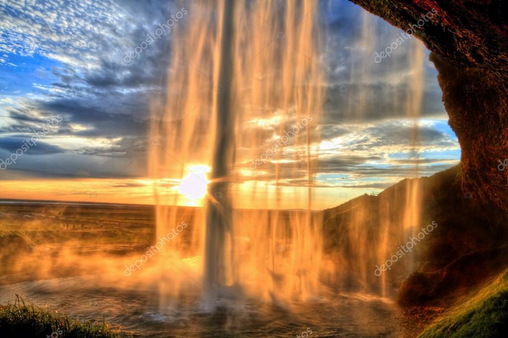 Фотообои Seljalandfoss waterfall at sunset in HDR, Iceland