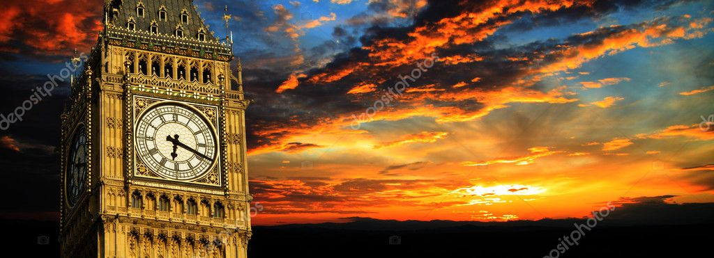 Big Ben at sunset panorama, London