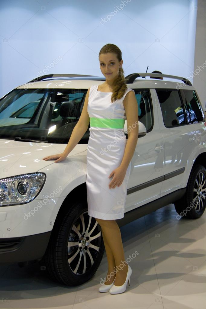 Hostess with Skoda Yeti on display at the 11th edition of