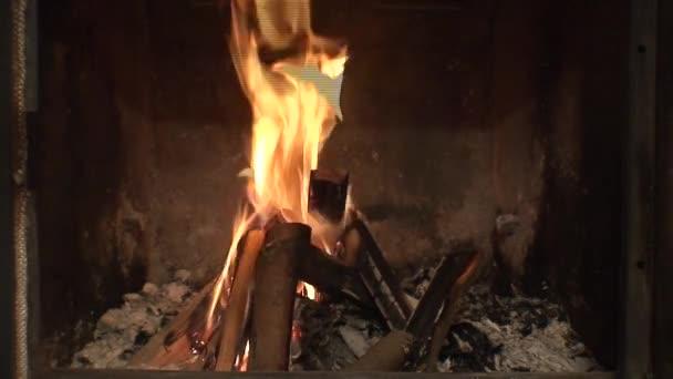 Fireplace burning flames close-up