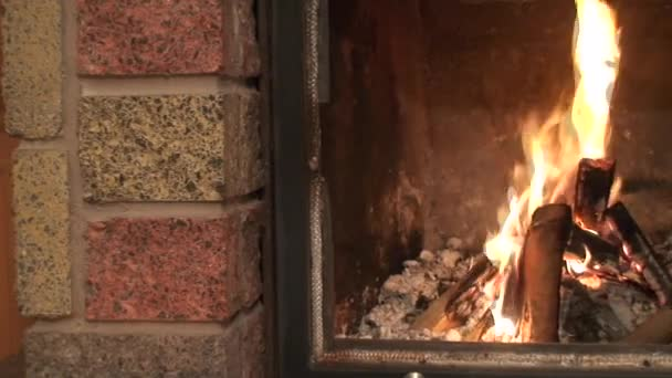 Fireplace burning flames, pan