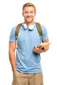 selbstbewusste junge Studentin zurück zur Schule auf weißem Hintergrund