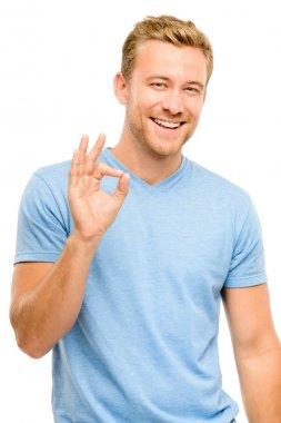 Happy man okay sign - portrait on white background