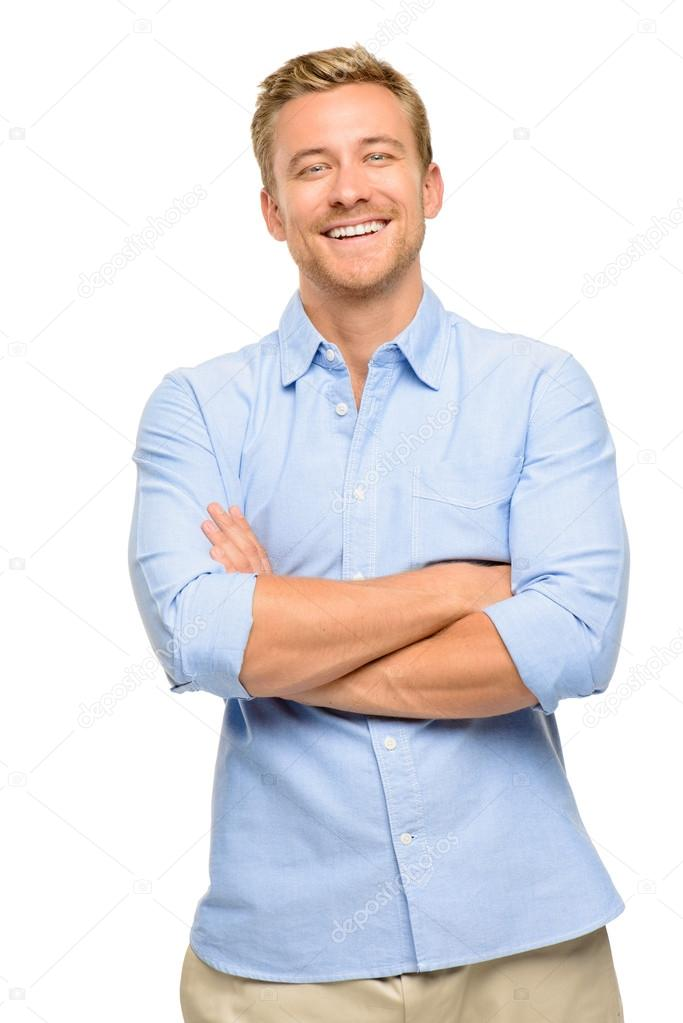 Attractive young man with arms folded on white background