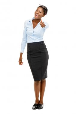African American businesswoman thumbs up
