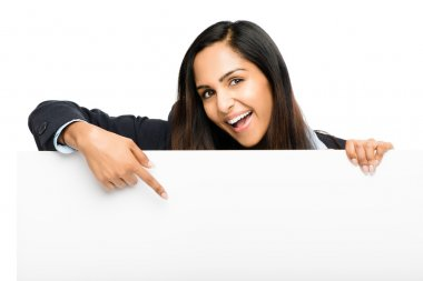 Portrait of attractive young indian woman holding billboard on white background stock vector