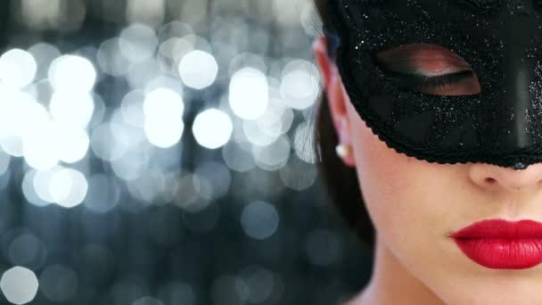 Makró Vértes szexi nő fél maskara maszk viselése