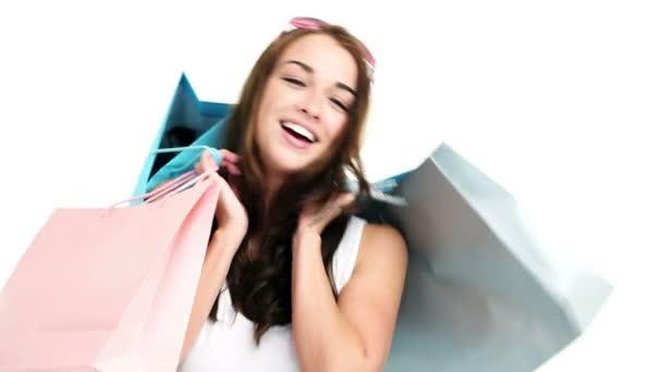sexy žena hospodářství nákupní tašky