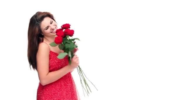 süßes Mädchen mit Valentinstag Rosen
