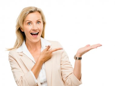 Mature business woman pointing empty copy space smiling isolated