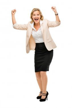Mature business woman celebrating success full length isolated o