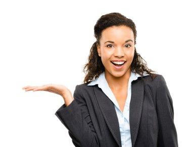 African American businesswoman showing empty copyspace