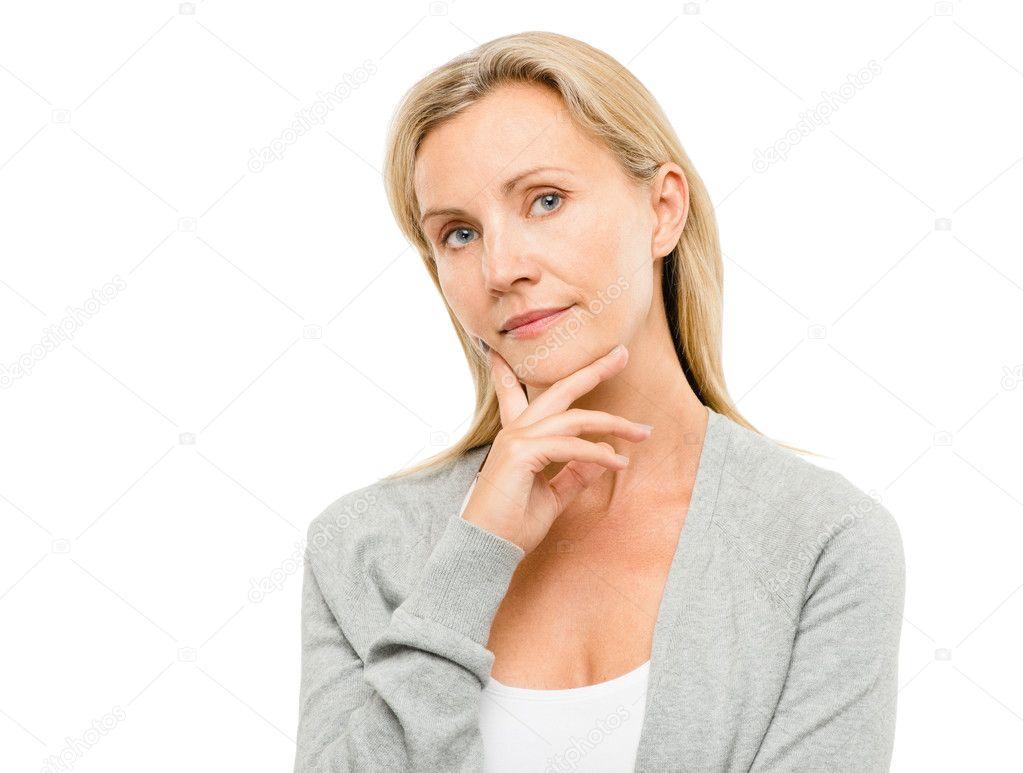 portrait de belle femme mure isol sur fond blanc photographie aila images 19466379. Black Bedroom Furniture Sets. Home Design Ideas
