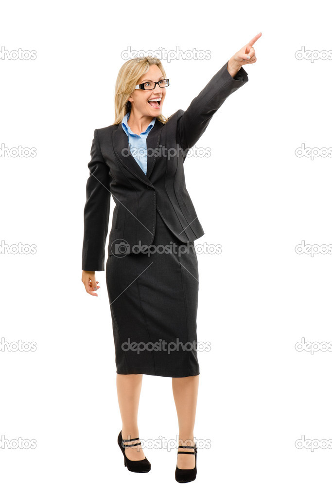 Portrait Of Serious Mature Businesswoman Pointing Finger Upward, Isolated Over White Background Stock Photo